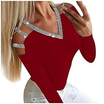 Blusa Con Cuello En v Sexy para Mujer Camiseta Casual De Manga Larga Lentejuelas Sin Tirantes De Moda Tops Camiseta Red