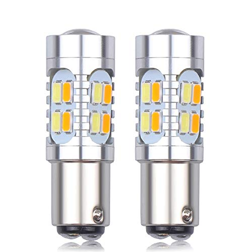 HAIHAOYF 2 unids 1157 p21 5630 20SMD High Power Dual Color Blanco Amber Amarillo Switchback LED DRL DRL Señal Estacionamiento Aparcamiento Bombillas (Color : 2X White Yellow)