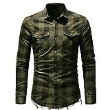 Chyoieya Camisa de los hombres Slim Fit botón Plaid bolsillo manga larga Tops blusa otoño invierno botón casual algodón blusa