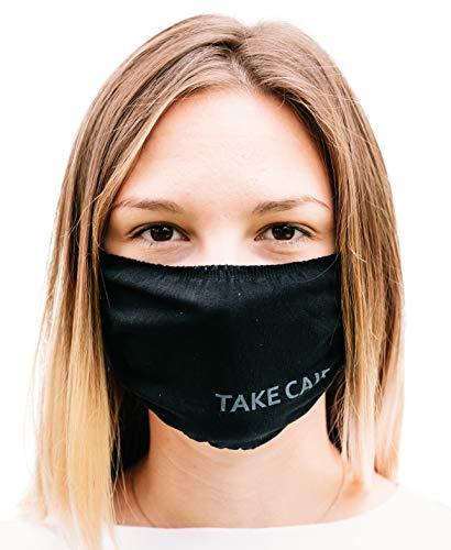 TAKE CAIR - TC Friends - 3X Hygiene Mund- und Nasen-Bedeckung, waschbar und wiederverwendbar, elastisch und komfortabel, schwarz (3-er Pack)