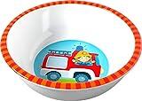 HABA 303693 - Schüssel Feuerwehr, rutschfeste Kinderschüssel aus Melamin mit Feuerwehr-Motiv