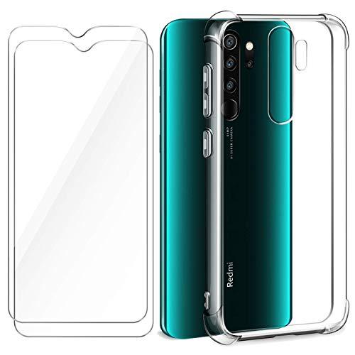HTDELEC für Xiaomi Redmi Note 8 Pro Hülle +[2 Stück] Panzerglas Schutzfolie,Transparent Weiche Durchsichtig Dünn Handyhülle mit TPU Stoßdämpfung Bumper Hülle -Stoßfest