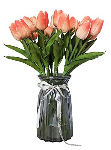 xy Flor Falsa 10 PCS Flores Artificiales Tulipanes Blancas Ramo de Bodas Piedras centrales para el hogar Toque Real Touch PU Fake Flowers en jarrón Hermosas Flores Falsas (Color : Light Coral)
