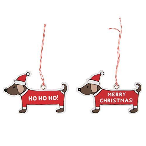 Sass & Belle - set di 12 etichette natalizie, motivo: bassotto, 9 cm x 6 cm