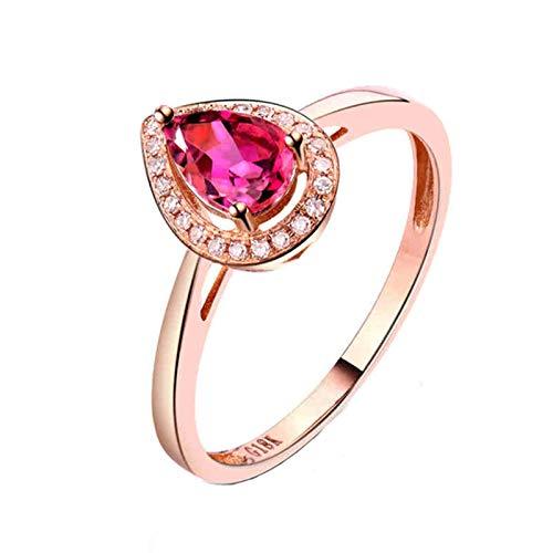 AnazoZ Anillo Mujer Turmalina,Anillo de Oro Rosa 18 Kilates Oro Rosa y Rosa Roja Pera Turmalina Rosa 0.5ct Diamante 0.07ct Talla 8