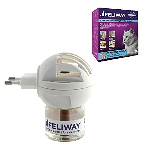FELIWAY Classic - Antiestrés para gatos - Marcaje con orina, Miedos, Cambios en el entorno, Arañazos Verticales - Difusor + Recambio 48ml ✅