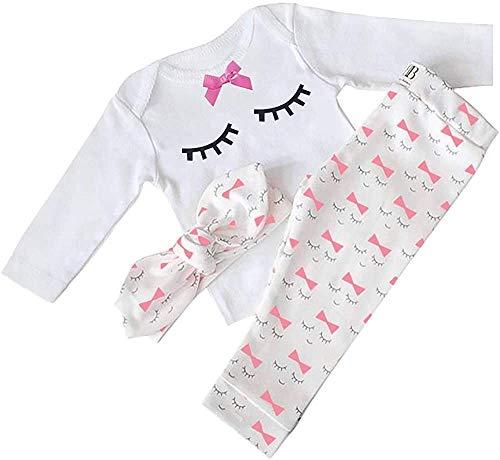Nwada Pijama Niña Verano Conjunto Camisas y Pantalon y Venda Ropa Bautizo Disfraz Bebe Recien Nacido 12-18 Meses Blanco