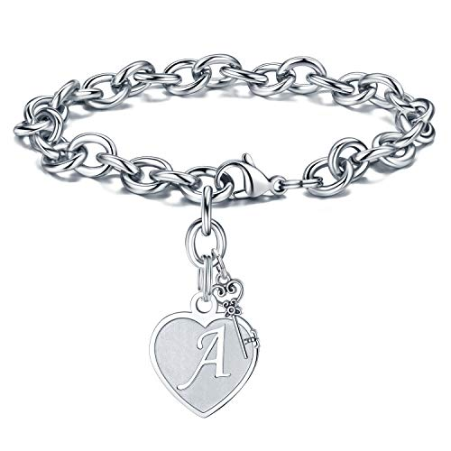 Initial Charm Bracelet for Women - Engraved Letter A Initial Bracelet Womens Stainless Steel Heart Letter Charm Bracelet Adjustable Birthday Christmas Valentines Gifts for Her Women Teen Girls