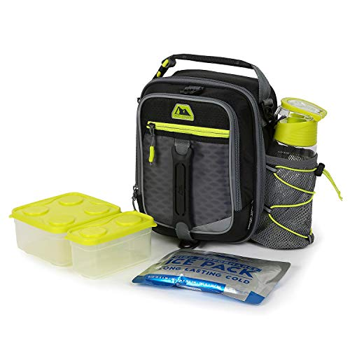 Arctic Zone High-Performance Dual-Compartment Lunch Box - Black Includes Ice pack, Food Container and Water Bottle