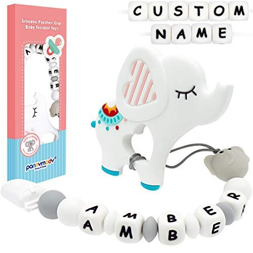 Panny & Mody - Clip para chupete o mordedor de silicona personalizado con nombre de bebé, diseño de elefante