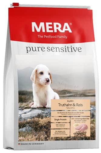 MERA pure sensitive Puppy, Hundefutter mit Truthahn und Reis, Trockenfutter für sensible Hunde, gut verträgliches und hochwertiges Welpenfutter, 4 kg