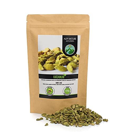 Cardamomo entero (100g), semillas de cardamomo 100% naturales, semillas de cardamomo natural sin...