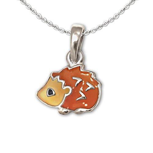 CLEVER SCHMUCK-SET ciondolo Mini riccio 7mm Arancione Marrone Nero Laccato con catena ancora 40cm in argento Sterling 925per bambini