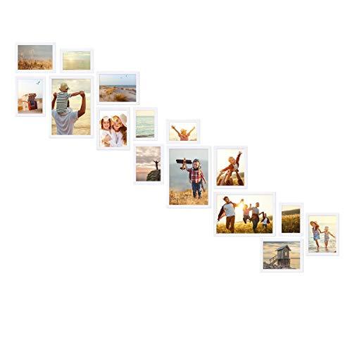 PHOTOLINI Bilderwand Treppe Weiss 15er Bilderrahmen-Set aus Massivholz für Treppenhaus/Treppenaufgang 10x15 bis 21x30 cm mit Glasscheibe inkl. Zubehör