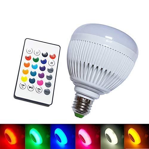Bombilla LED Light Music, E27 llevó la luz con Bluetooth Altavoz RGB que cambia la lámpara color de audio integrado de altavoces con control remoto para el hogar, dormitorio, sala de estar, Fiesta