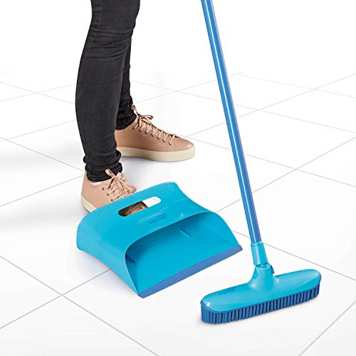 Spontex Catch & Clean, Kehrbesen mit Gummiborsten, Teleskopstiel und praktischem Auffangbehälter, hygienische und effiziente Reinigung für alle Bodenbeläge, 1 Set - 3
