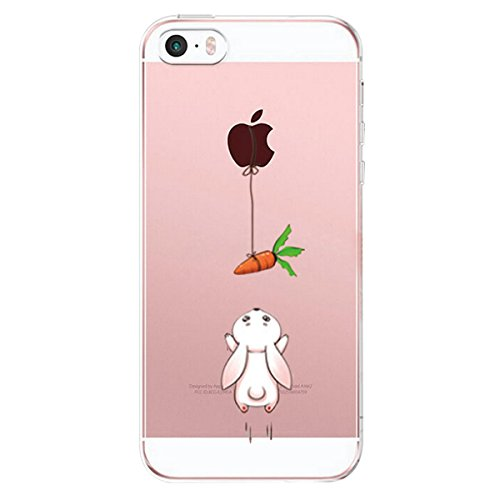 Alsoar Compatibile/Sostituzione per iPhone SE Custodia,iPhone 5 iPhone 5S Case,TPU Animal Baby Cover iPhone 5s / 5 / SE Popolari Orso Carino Case Anti-Scratch Gel Silicone Custodia (Coniglietto)
