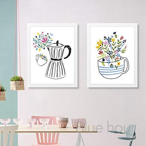 Máquina de café y taza de café lienzo pintura cocina pared decoración dibujo mano ilustración impresiones nórdicos carteles decoración 50x70cmx2 sin marco