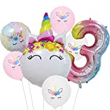 DIWULI, Ballon-Set, XL Zahlen-Ballon, Zahl 3, Einhorn-Ballon, Latex-Ballon, Latex-Luftballon 3. Kinder-Geburtstag Mädchen, Motto-Party, Dekoration, Folien-Ballon, Folien-Luftballon, Zahlenluftballon