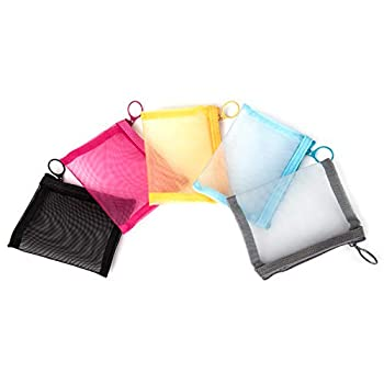 Patu Mini Zipper Mesh Bags 4  x 5  Size S / A7 5 Pieces Beauty Makeup Lipstick Cosmetic Accessories Organizer Small Travel Kit Storage Pouch Assorted Colors