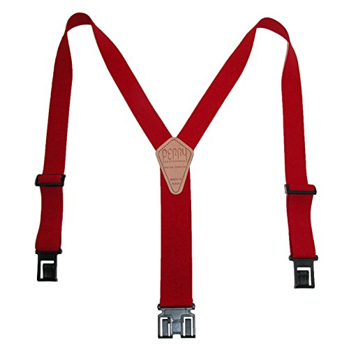 Perry Braces Mens Elastic Hook End 1 1/2 Inch Braces (Tall Available, Tall, Red