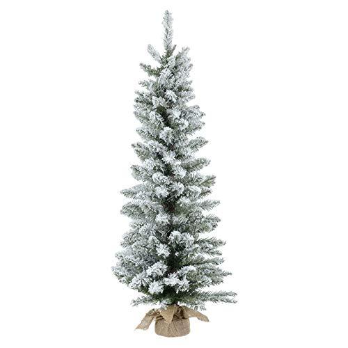 Albero di Natale Artificiale alberello di Natale innevato 90cm Super folto Reale Base in Iuta Decorazione addobbi Natalizi Ornamento casa Natale