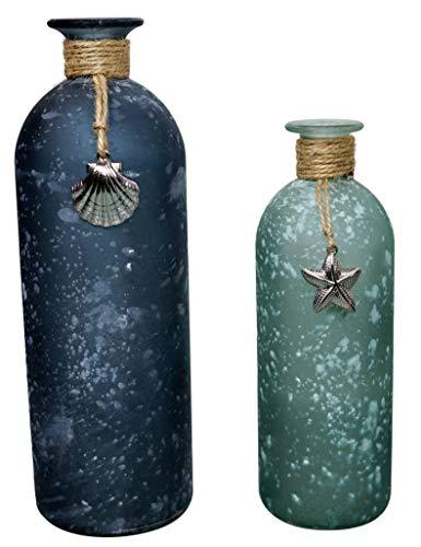 khevga Maritime Dekoration - Vasen maritim im 2er Set 26 und 20 cm hoch (Blau/Grün)