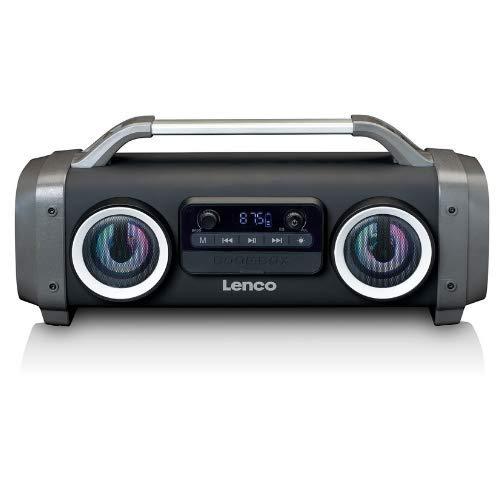 Lenco SPR-100 Boombox - IPX4 wasserdichte Bluetooth 5.0 Boombox - integrierter 4400mAh Akku - 25 Watt RMS - FM Radio Empfänger - Lichteffekte - Equalizer - Kabeloses Musikstreaming - Schwarz