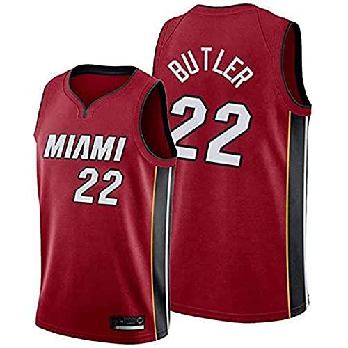 Miami Heat # 22 Jimmy Butler Ropa Jerseys de Baloncesto de los Hombres, NBA Verano Chalecos Deportivos cómodos Uniformes de Baloncesto Tops sin Mangas Camisetas, Más cómodo, mejor cal(Size:L,Color:G1)