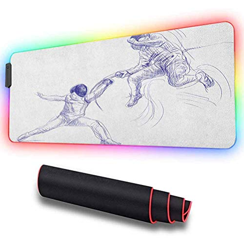Large RGB Gaming Mouse Pad, Sketch of Two Sportsman Fencing D, High-Performance Mouse Pad Optimized for Gaming Sensors 31.5 X 11.8 Inch