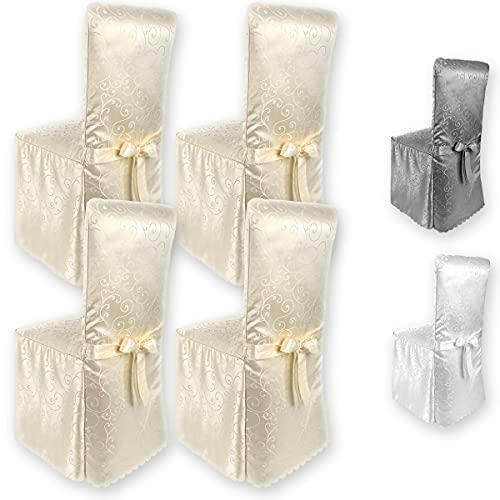 Gräfenstayn® 4 Fundas para sillas Sofia con diseño Jacquard y Lazo Integrado respaldos de sillas Redondas y cuadradas Ajuste Universal (Crema)