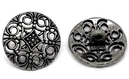 SiAura Material ® - 10 Stück Metallknöpfe, antiksilber, Keltic -Muster, Ø ca. 18mm, Lochgröße 2,2mm