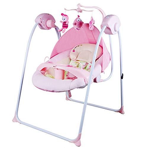AQUYY Rocker Baby, 2 in 1 Infant& Bouncer Chair with Music & Toys,with 16 Soft melodies 6 Swinging Speed,from Birth to 36 Months(Color:Pink)