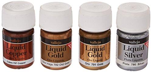 Vallejo Farbset, Flüssiges Gold auf Alkohol-Basis, 4x17 ml