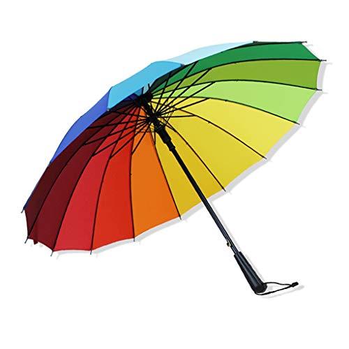 LLF Regenschirm 40 Zoll-automatischer Offener Regenbogen-Regenschirm, Winddichte wasserdichte Stock-Regenschirme Für Mann-Frauen Mit 16 Rippen (Color : Multi-Colored, Size : 16K)
