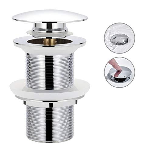 Synlyn Universal Ablaufgarnitur ohne Überlauf für Waschbecken/Waschtisch verchromten Kupfer Ablaufventil Pop Up Ventil Abflussgarnitur