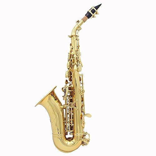 LADE Saxofón Bb Bend Althorn Soprano Sax Patrón Labrado Latón de Oro Botones Concha de Perla Blanca Instrumento de Viento con Estuche Guantes Paño de Limpieza Grasa Cepillo