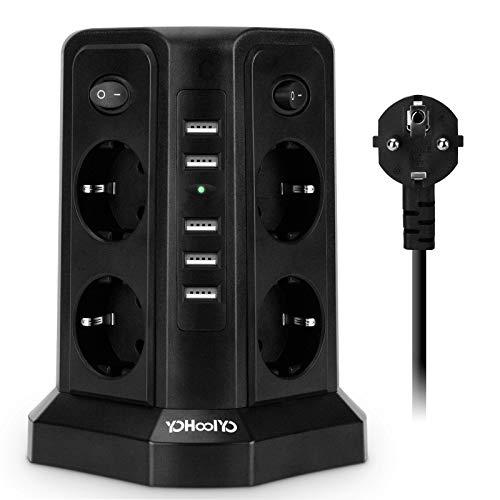 YOHOOLYO Multipresa Verticale Torretta Multipresa, 8 Prese e 5 Porte di Carica USB, Protezione da Sovraccorrente, 2500W, 4 Interruttori Indipendenti