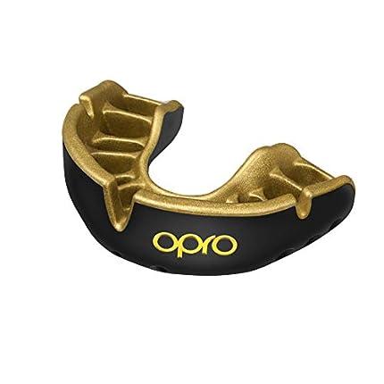 OPRO Protector Bucal Self-Fit Gold - Protector bucal - para Rugby, Hockey, Lacrosse, fútbol Americano, Baloncesto y más - Fabricado en Reino Unido (Negro/Oro, Adulto)