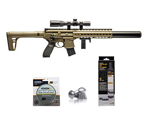 SIG Sauer MCX .177 Cal CO2 Powered Advanced Air Rifle with CO2 90 Gram (2 Pack) and 500 Lead Pellets Bundle (FDE, 1-4x24 Scope)