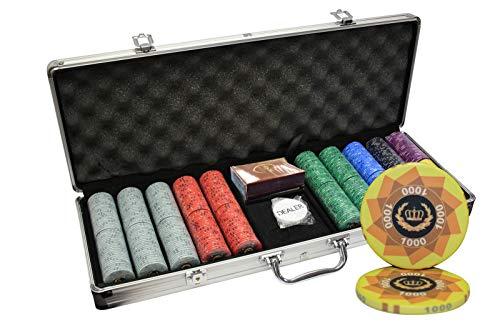 MRC 500pcs Laurel Crown Ceramic Poker Chips Set with Aluminum