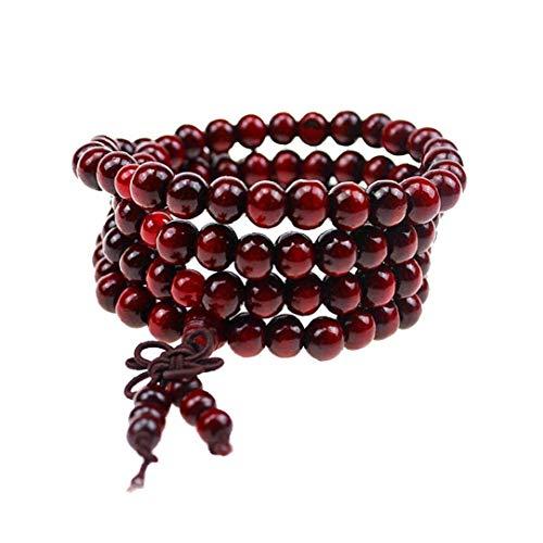 Rrunzfon 1PC Madera de la Naturaleza 108 Pulsera de Mala oración Budista Collar de Enlace de la muñeca del Desgaste del Collar de Cuentas de Madera de 8 mm (Cuatro círculos) joyería de Moda Retro