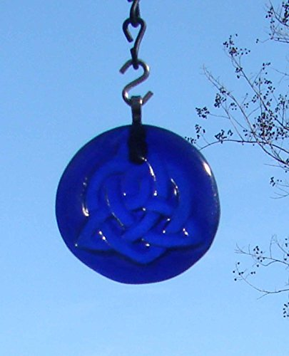 Celtic Trinity Love Knot Sun Catcher Recycled Blue Bottle Bottom Ornament