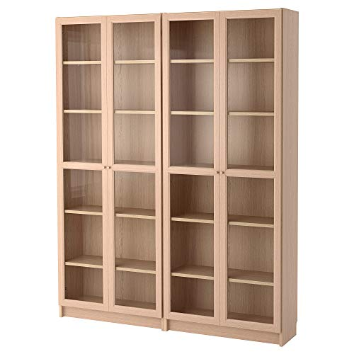 BILLY/OXBERG combinación librería/puertas de vidrio 160x30x202 cm chapa de roble blanco manchado de vidrio/vidrio