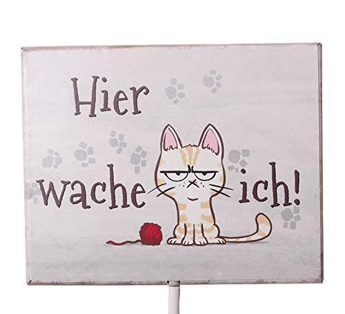 Rostalgie Metall Schild auf Stab mit Katze Hier wache Ich! Geschenk Garten Dekoration Eingang
