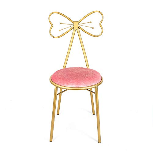 Pink Velvet Cushion Gold Butterfly Dinning Chairs Home Desk with Backrest Best!