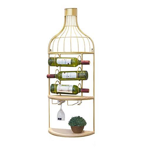 LTLWSH Cantinetta portabottiglie da Parete Stile RETR Ograve Scaffale Vini Scaffale in Metallo Vintage per ristoranti, Bar, per 3 Bottiglie Supporto Bottiglie Porta Bottiglie
