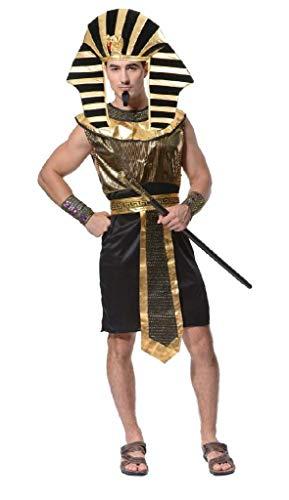 EVRYLON Costume Egiziano Uomo Vestito Carnevale Sacerdote Faraone Tutankhamon ( Taglia Unica ) Travestimento Cosplay Ottimo Come Regalo per Natale O Compleanno