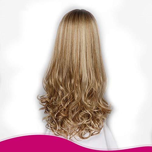 Pelucas SWNN Oro pendiente de Brown peluca de pelo largo rizado pelo de la capilla química de fibra color mixto señora Girl