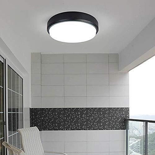 Mobestech - Lámpara LED de techo para exteriores (resistente al polvo, resistente al agua, 100-265 V, 12 W, 3000 K)
